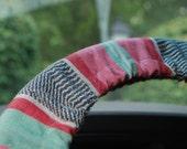 Steering Wheel Cover Pastel green, pink, grey tex/mex patterned