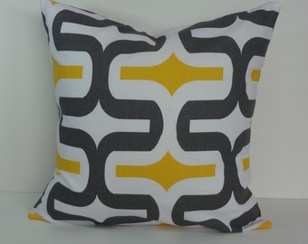 Yellow and Grey Decorative Pillow Cover, Throw Cushion Cover, 18 x 18 Geometric Pillow