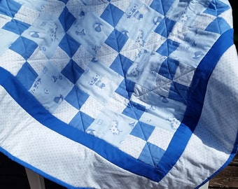 Adorable Baby Blue Crib Quilt Handmade with Love