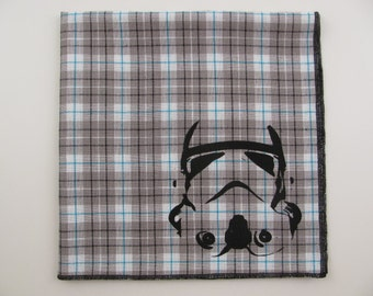 Hankie-STORM TROOPER star wars shown on super soft grey/aqua plaid cotton Hanky-or choose from white or solid colors or plaids shown in pics