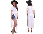T Shirt Dress White TEE DRESS Maxi Long Stretchy Cotton High Deep Slit Side Short Sleeve Summer Festival Tunic Dress Bodycon Medium to Large