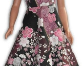 "36"" Doll Clothes Asian inspired dress w/ floral print inv-zip"