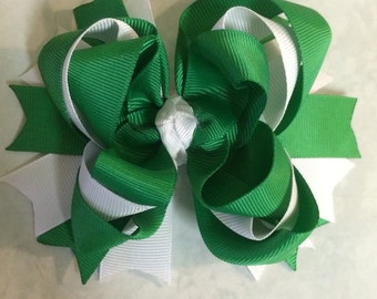 Green and white stacked hair bow, michigan state football