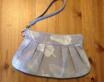 Grey and Silver Feather Print Pleated Canvas Clutch/Wristlet with Removable Wrist Strap