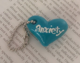 Blue Anxiety Heart Keychain Charm Polymer Clay Conversation Psychology Disorder Mental Health Valentine Gift Ooak Crazy