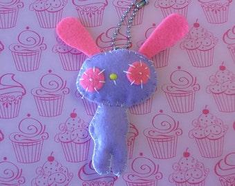 Plush Purple and Pink Hypnotized Bunny Rabbit Keychain Stuffed Animal Plushie Softie Cute Pet Ooak Small