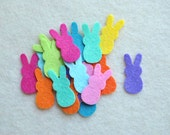 20 Piece Die Cut Wool Blend Felt, Small Gummy Bunnies, Bright Colors