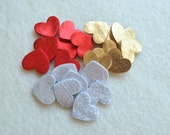 30 Piece Small Die Cut Felt Hearts, Metallic Colors