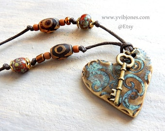 SALE Bohemian Adjustable Necklace Boho Chic Hippie Jewelry Skeleton Key Heart Pendant Handmade Earthy Ceramic Pottery Spiritual Dzi Beads