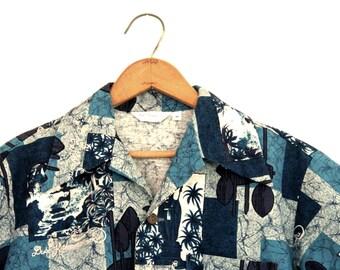 Vintage Mens Hawaiian Shirt Duke Kahanamoku Blue Pattern Medium 1960s