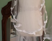 White wave bridal veil, Two Tier Bridal Veil, 32 inch Veil, Fingertip Veil