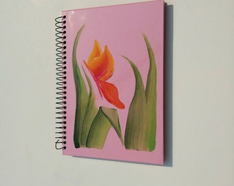 Handpainted Red-orange Butterfly on Medium-sized Pink Spiral Notebook Journal