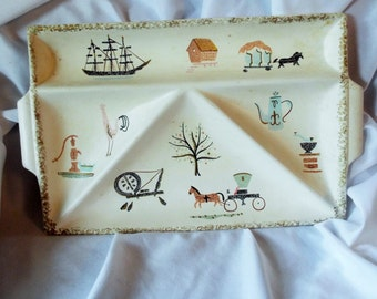 Vintage Divided Tray JAPAN Colonial Theme Horse & Carriage Ship Rooster Tea Coffee Spinning Wheel