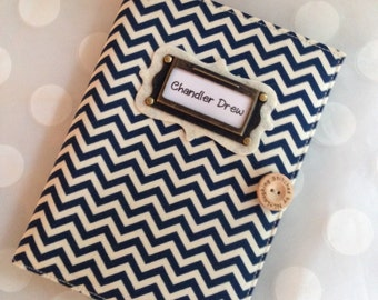 Photo Album Personalized Brag Book holds 48 Pictures - navy mini chevron fabric