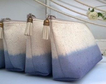 Navy Blue Clutches, Burlap Clutch Purses, Linen Bridesmaid Clutches, Fall Wedding - Set of 8 PLUS FREE GIFT