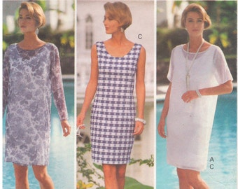 1992 - Butterick 6209 Vintage Sewing Pattern Sizes 6/8/10 Fast Easy Petite Dress Overdress Loose Straight Pullover Mid Knee Tapered Fitted