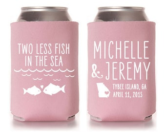 Custom Wedding Favor - Two Less Fish in the Sea Can Coolers