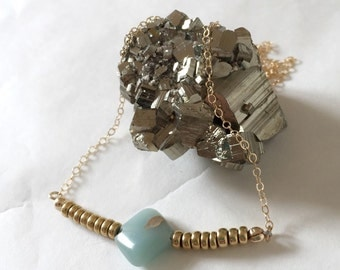 NEW Aqua Terra Jasper : Petite Jasper with Brass on GoldFilled Necklace. Everyday Necklace. Gifts for Her. Bridesmaid's Gift.