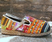 Womens Shoes, Colorful Patchwork Hmong Vegan Loafers - Casey