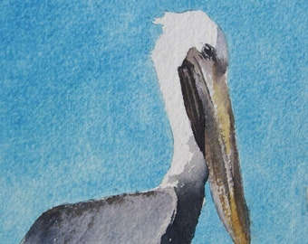 Pelican on His Post - PRINT from an original Watercolor Painting