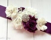 Eggplant Bridal Sash, Flower Girl Sash, Maternity Sash, Plum Bridal Belt, Bridesmaid Sash, Custom Sash, Satin Sash, Flower Sash