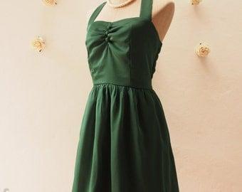 Forest Green Dress Green Halter Dress Fancy Green Bridesmaid Dress Vintage Party Dress Wedding Prom Dress -Size XS,S,M,L,XL, Custom