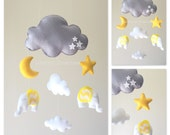 READY TO SHIP - Baby mobile - baby mobile elephant - cloud mobile - Moon mobile - moon and stars mobile