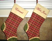 Christmas stockings personalized with hand-embroidery // red plaid with green toes // country christmas // gold red green family stockings