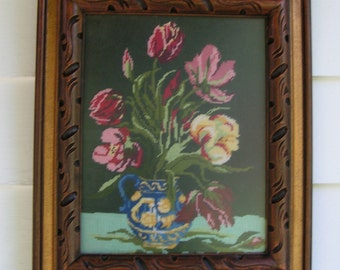 Stunning Crewel Cross  Stitch work on this Vase with Flowers  -  Deep Carved Gold Tinted Frame is a Work of Art in Itself