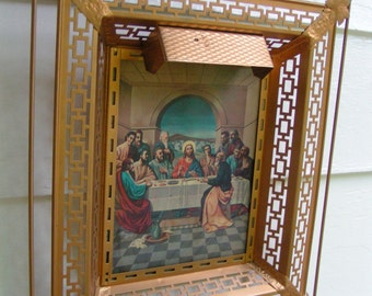 late 40s Deco Caged Metal Framed Religious Hologram Gold Leaf Jesus and Last Supper