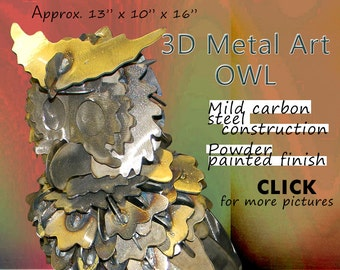 Owl Metal Art, Steel Art Owl, Garden Art Owl by Brown-Donkey Designs