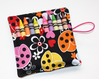Crayon Roll, Pink Yellow Orange Ladybugs, Crayon Rollup, holds up to 10 Crayons, Birthday Party Favors