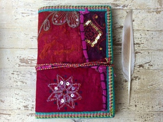 BOHO JOURNAL - Indian sari notebook - Rainbow notebook - Student - Back to school - Sketch book - Handmade paper - Natural paper