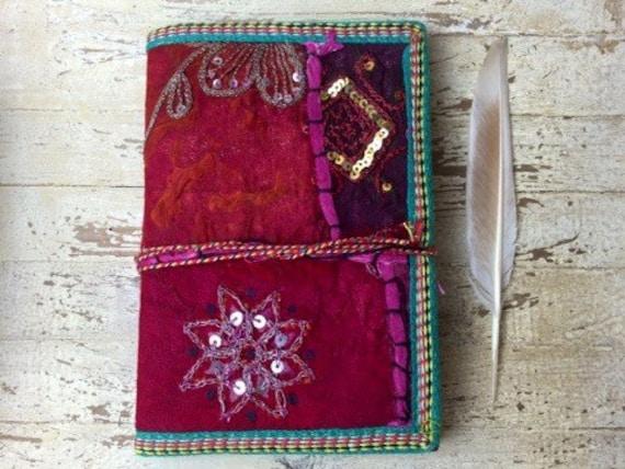 PINK BOHO JOURNAL - Indian sari notebook - Rainbow notebook - Student - Back to school - Sketch book - Handmade paper - Natural paper