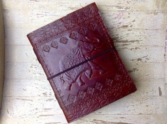 ELEPHANT JOURNAL - Leather Journal - Embossed Journal - Student - Leather Notebook - Sketch book - Handmade - Vintage leather - Boho
