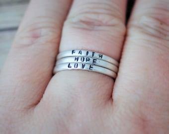three sterling silver super skinny ring - personalized ring - posey ring - skinny silver ring - skinny personalized ring - skinny ring