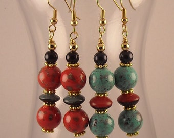 Beaded Dangle Earrings with Gold Accent Spacers
