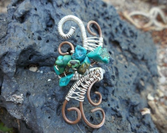 Turquoise Copper Silver Wire Wrapped Ring Size 3 4 5 1/2 Handmade Custom Healing Jewelry