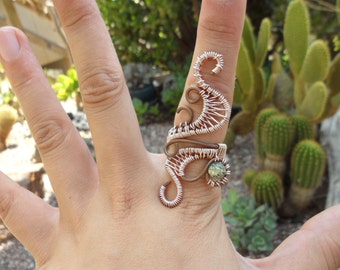 Serpentine Copper Wire Wrapped Ring Size 8 9 10 1/2 Heart Love Handmade Healing Jewelry Green Stone Mineral Love Rose Gold