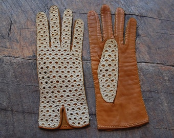 Vintage RARE handmade CROCHET & leather ladies womens GLOVES size 7 Made in Spain