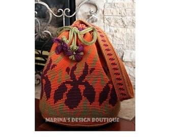 Iris Meadow - Shoulder Drawstring Bag  PDF Crochet Pattern