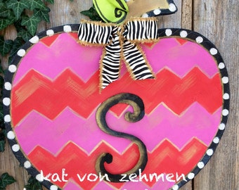 Back to School Bright Pink and Red Chevron Apple with Zebra Print Bow Screen Door Hanger, Personalize for FREE
