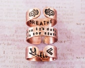 """Custom hand stamped copper ring, personalized quote ring, 1/4"""" copper customizable quote ring, personalized gift, zenned out, custom ring"""