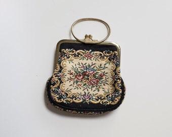 Vintage embroidered floral evening bag