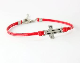 Sideways Cross Bracelet, Red String Bracelet, Silver Cross Bracelet, Friendship Bracelet