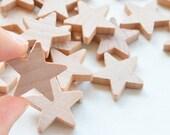 """50 Miniature Wooden stars 1"""""""