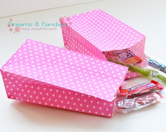 "50 Patterned Mini Pinks Dots Paper Bags with Gusset for decorate, party favors, and many more Size 3-5/8"" X 2-1/4"" X 7"""