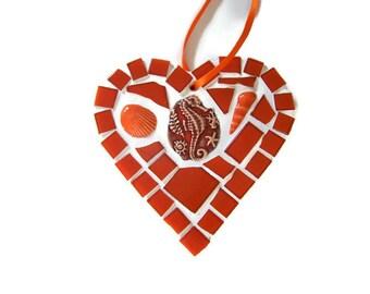 Orange Seahorse Mosaic Heart