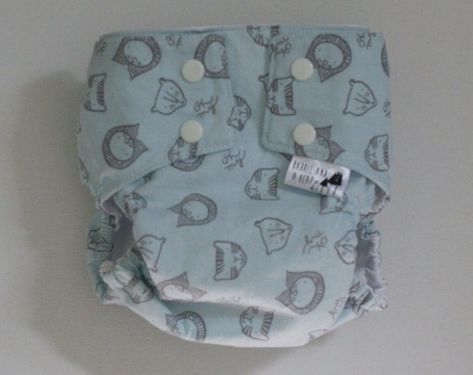 Lions and Tigers and Bears in Blue Water Resistant PUL Lined Diaper Cover Available in Small, Medium, and Large