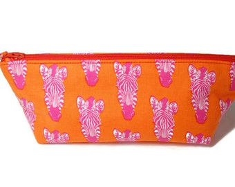 Handmade Pencil Case - Cosmetic Bag - Zippered Pouch -Bright Orange Zebra